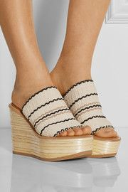 Kenna woven cotton wedge sandals