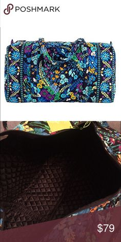 Vera Bradley Large Duffel 'Midnight Blues' New never used Retired pattern. Has pockets at side and this bag has a solid black quilted nylon lining with Vera signature.Custom bundle only  Vera Bradley Bags