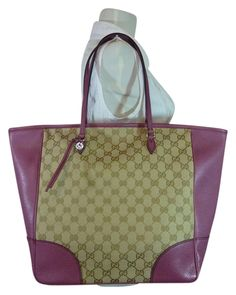61a6cdd85 The Gucci Bree Beige Dusty Canvas Leather Beige Ebony Dusty Rose Canvas Leather  Tote is a top 10 member favorite on Tradesy.