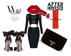 """""""Back to black"""" by lana-653 ❤ liked on Polyvore featuring Miu Miu, Prada, Lime Crime, Chanel, red_lips and black_dress"""
