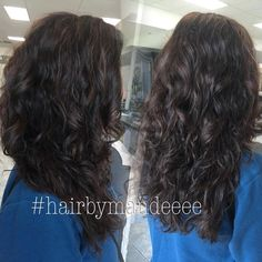I was INLOVE with her natural curly hair! Just added some curls with an iron and gave her an all natural brunette color. #redkencolor #cilantrohairspa #modernsalon #curlyhair #brunette #hairbymandeeee #behindthechair #shadeseq