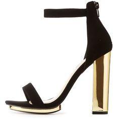 7c4a55fc071 Charlotte Russe Wide Width Two-Piece Metallic Heel Sandals ( 20) ❤ liked on