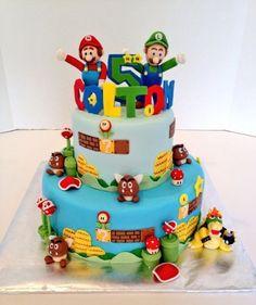 Mario and Luigi Cake agu Bolo Super Mario, Super Mario Birthday, Mario Birthday Party, Super Mario Party, Super Mario Bros, Birthday Cake, Fondant Cookies, Cupcakes, Cupcake Cakes