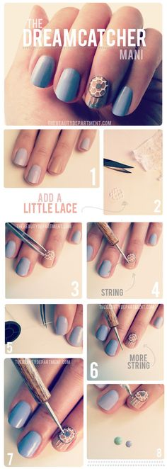 Blue + Tan Dream Catcher Mani #Nails #Mani #NailArt #LightBlue #Blue #Tan #Lace #DreamCatchers