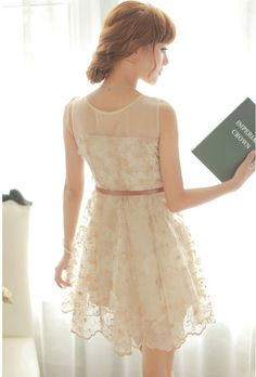 Morpheus Boutique  - Beige Lace Flora Ruffle Celebirty Hem Pleated Dress