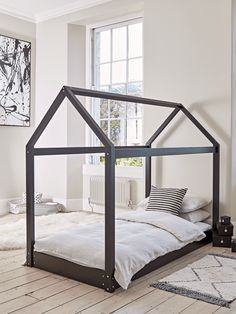 Stylish black house bed frame from Cox & Cox, perfect for a monochrome Scandi kids room Cross Back Dining Chairs, Linen Dining Chairs, Childrens Bedroom Furniture, New Furniture, Black Toddler Bed, Black Kids, House Frame Bed, Bed Frame, House Beds For Kids