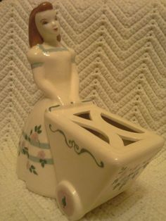 Vintage Vase Ceramic Blue White Floral Girl with Flower Cart Flower Mother's Day