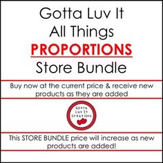 Do your middle school students need practice with Proportions? Save $$ when you buy the Gotta Luv It All Things Proportions Store Bundle. This bundle includes all Proportion products sold in my store. Please see the product page for a listing of all products. Buy now at the current price and receive new products as they are added to the bundle. The price will increase as products are added.