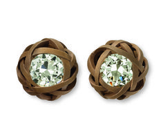 Hemmerle earrings | diamonds - bronze - white gold