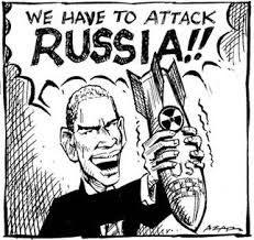 mavo 6-Hier zie je een koude oorlog Propaganda. hier zie je dat de man wil aanvallen als de raket op Cuba plaatsen.