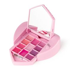 """<P>This heart shaped lip palette is fit for a princess. The cover is decorated with crystals, pearls, a star shaped gem, a crown and a key. Push the button and watch as the compact opens to reveal 11 shades of lip gloss, a mirror and a mini brush.</P> - <UL> - <LI>.016 - .018 oz. each  - <LI>4""""L x 4""""H x 1""""W</LI></UL>"""