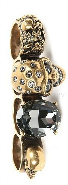 "Antique gold and Swarovoski crystal skull ""knuckle duster"" ring from Alexander McQueen 