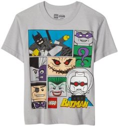 Bioworld Boys 8-20 Lego Batman Collage Tee  #LEGO #Batman #T-Shirt $16.55 Batman Party, Lego Batman, Batman Gifts, Kids Clothes Sale, Football Tops, Lego Store, Lego News, Toddler Boys, Boy Outfits