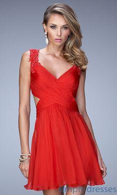 V-Neck Beaded Shoulder Short Prom Dress Party Dress Homecoming Dress