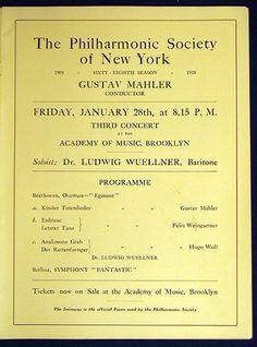 Gustav MAHLER conducts The Philharmonic Society of New York, Academy of Music, Brooklyn  |  January 28, 1910