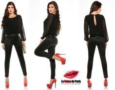 Comprar Mono de vestir online elegante Cicarelli negro online Monos ajustados lareinadeparis