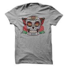 Brown Sugar Skull With Red Roses T-shirt