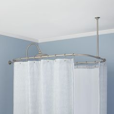 Rectangular Shower Curtain Rod  $125.95 - $164.95  Designed for showers with a riser pipe, as with many clawfoot tub showers, this Rectangular Shower Curtain Ring provides floor and wall protection as you wash. This set includes wall and ceiling support rods for sturdy installation and is crafted of brass for durability.