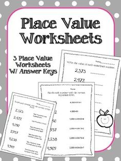 These Place Value worksheets are a great way to review Place Value with your class! They would even work well as a Math Quiz or for Math Centers.  Included:Three Place Value WorksheetsAnswer Keys for each of them