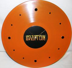 LED ZEPPELIN Orange Painted Vinyl Record Wall by PandorasRecordArt