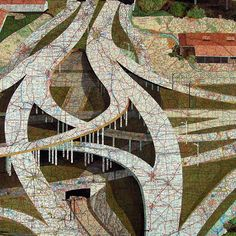 Map Collage by Matthew Cusick - explore emviromental issues of traffic?