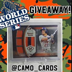 Shoutout to @camo_cards on this awesome giveaway go follow him. #mlb #giants #pirates #cubs #nationals #mets #braves #baseball #beisbol #yankees #royals #tigers #orioles #bluejays #redsox #dodgers #rangers #astros #athletics #worldseries #reds #whitesox #twins #mariners #angels #marlins #cardinals #rangers #phillies #brewers #indians