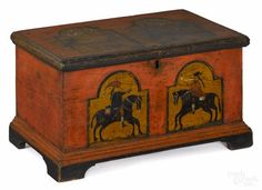 Winning bid:$8,500  Berks County, Pennsylvania painted pine miniature dower chest, late 18th c., the face decorated with two tombstone panels with figures on horseback on a salmon ground supported by bracket feet, 11'' h., 19 1/4'' l.  Feet and base molding replaced. Background probably enhanced. Hinges and till replaced. Provenance: The Ralph Esmerian Collection, New York, NY.- Price Estimate: $8000 - $12000