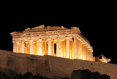 The Parthenon, The Acropolis, Athens, Greece - 2,500 years ago the temple was constructed in the Doric style to worship the Goddess Athena, regarded as the protector of the people of Athens.
