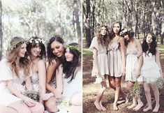 love the nature inspiration and the neutral colored different dresses for the bridesmaids.