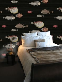 Cole & Son Acquario .png Quirky Fish wallpaper. Unique and a bold choice for your wall but I like it! Karen Knox is one bold interior designer choosing this one but by golly, I think it works!