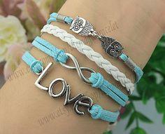 Infinity Owl & Love Charm BraceletSilver by themagicbracelet, $4.99