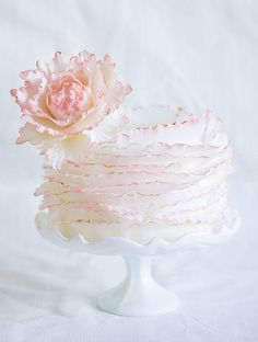 Frill cake with sugar peony! Fondant Cake Designs, Fondant Cakes, Cupcake Cakes, Shoe Cakes, Amazing Wedding Cakes, White Wedding Cakes, Amazing Cakes, Gorgeous Cakes, Pretty Cakes