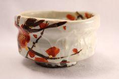 Mino ware tea bowl Ume fukuryo chawan Matcha Green Tea Japanese