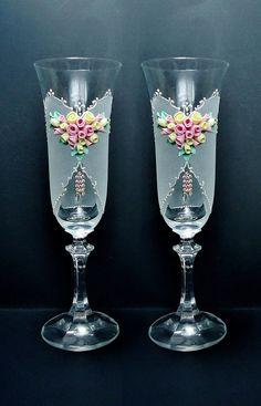 Primavera boda champán gafas flautas tostado rosa verde
