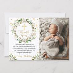 Shop Winter Floral Wreath Baptism Photo Thank you Card created by PollyFunDesign. Personalize it with photos & text or purchase as is! Photo Thank You Cards, Custom Thank You Cards, Christening Thank You Cards, Baptism Photos, Cute Home Decor, White Elephant Gifts, Invitation Cards, Invitations, Floral Watercolor