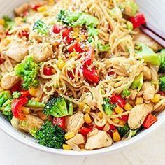 Noodle z kurczakiem teriyaki i warzywami Cakes And More, Poultry, Noodles, Cake Recipes, Recipies, Spaghetti, Food And Drink, Healthy Recipes, Dinner