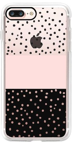 Casetify iPhone 7 Plus Case and other Lost in the Dots iPhone Covers - Pink White Black watercolour Polka Dots by Pink Water | Casetify