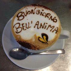 Buongiorno!  ~ good morning beautiful soul.. (person) Coffee Latte Art, Coffee Is Life, I Love Coffee, Coffee Coffee, Italian Breakfast, Italian Coffee, Morning Coffe, Coffee Painting, Learning Italian