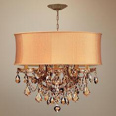 Brentwood Collection Harvest Gold 6-Light Crystal Chandelier | LampsPlus.com