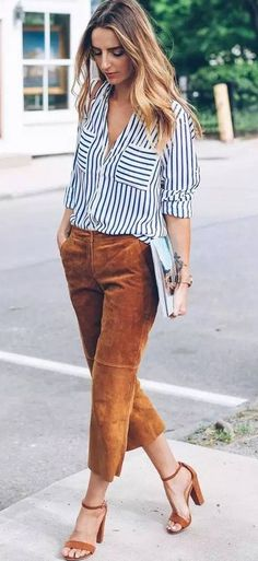 summer outfits  Striped Shirt + Camel Pants + Camel Sandals