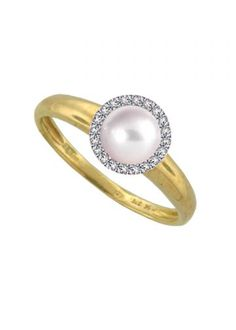 Amore Yellow Gold Diamond and Pearl Cluster Ring