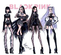 Blackpink Fashion, Kpop Fashion Outfits, Stage Outfits, Fashion Models, Paper Fashion, Hayden Williams, Fashion Design Drawings, Fashion Sketches, Fashion Illustrations