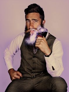 ricki hall, jimmy niggles & other sexy fellows @ mr. Moustaches, Man Smoking, Pipe Smoking, Cigar Smoking, Men's Fashion, Epic Beard, Beard Love, Beard Tattoo, Raining Men