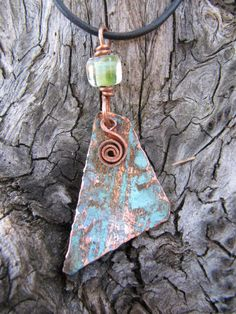 Copper Jewelry Triangle Pendant Copper Swirl di Gasquetgirl