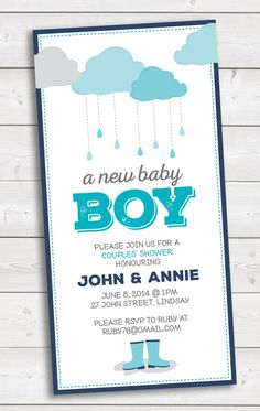 New Baby Boy Shower Invitation • 3.5x7 • Fun Rainy Theme • Couples' Shower • Card • Rainboots • Umbrella • Cardmaking • Print • Email