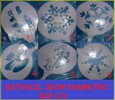 estencil para decorar con royal icing , aerografo o diamantinas