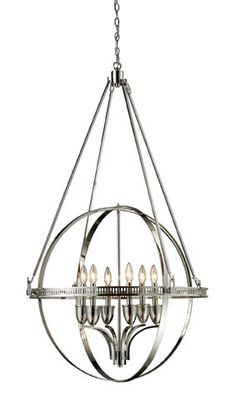 "Elk Lighting 10193/6 51"" Height Contemporary / Modern 6 Light 1 Tier Ring Enclosed Candelabra Style Chandelier from the Hemispheres Collection"