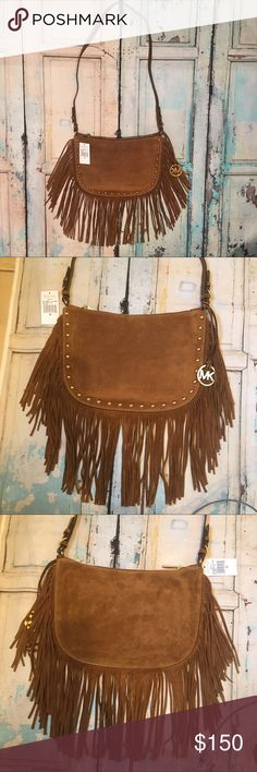 """Michael Kors crossbody bag Michael Kors Dakota Fringed Suede crossbody bag. NWT.  Color: Caramel Beautiful suede bag trimmed with luxurious fringe and raised gold studs. Zipper top closure Interior has one zip and 4 slip pockets. Large MK logo charm, adjustable strap. Measures approx 13""""L x 9""""H x 1""""W Michael Kors Bags Crossbody Bags"""