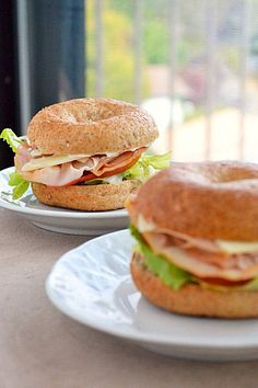 Mini Whole-Wheat Bagel Sandwiches with Honey Roasted Turkey, Provolone, Lettuce, and Tomato