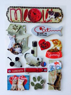 New - Scrapbooking Dimensional Glitter Stickers Similar to Jolees Boutique - Cats Rule by YourScrapbookingShop on Etsy